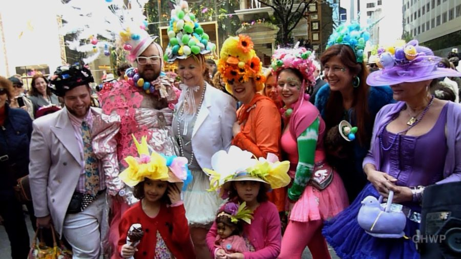 Friends+showing+off+their+handmade+bonnets+at+the+annual+Easter+Bonnet+Parade