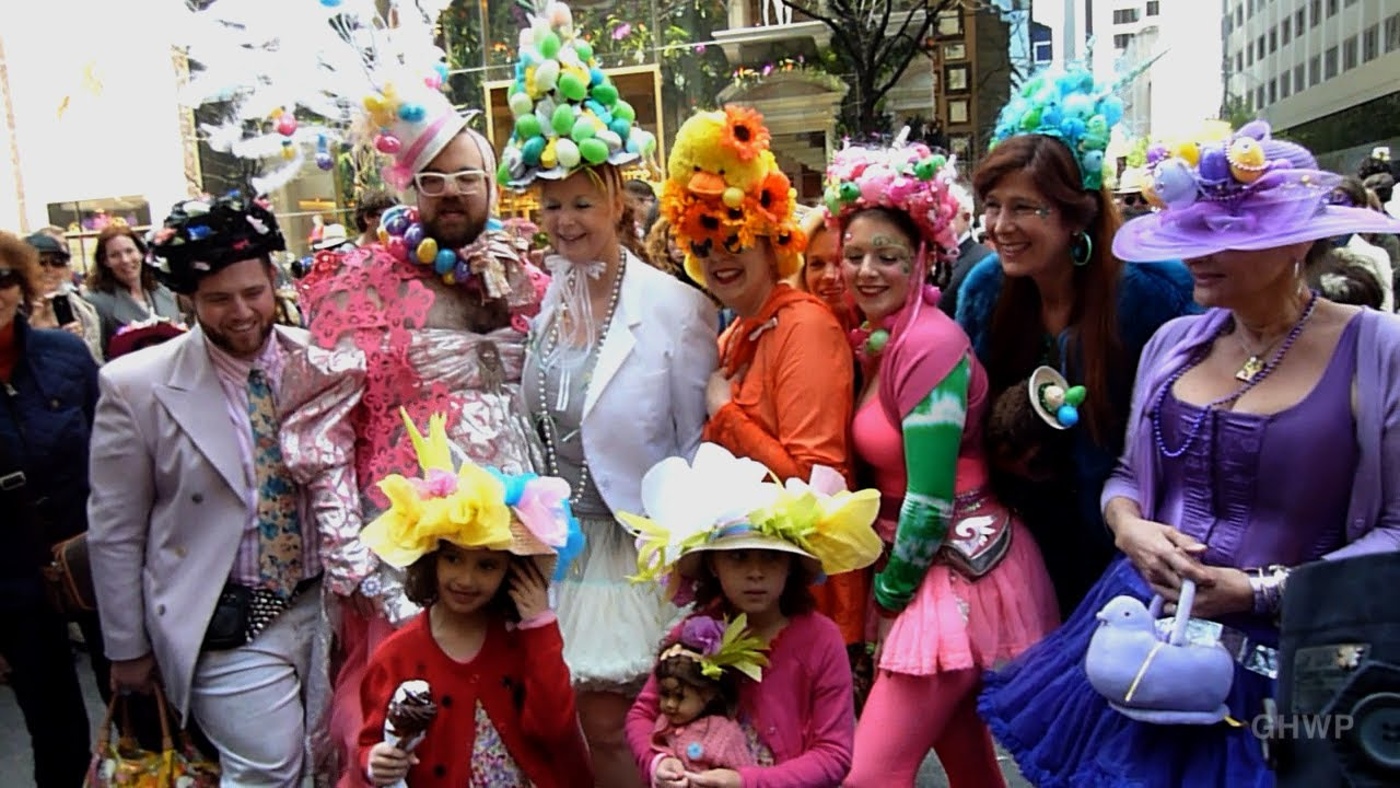 Friends showing off their handmade bonnets at the annual Easter Bonnet Parade