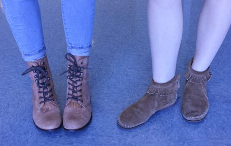 Peyton Nease and Emilie Smith showing off their November shoes