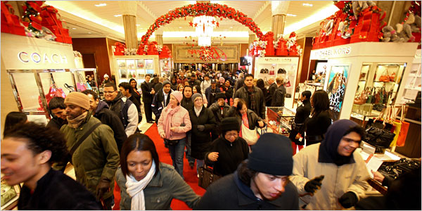 Christmas shoppers fighting the crowd