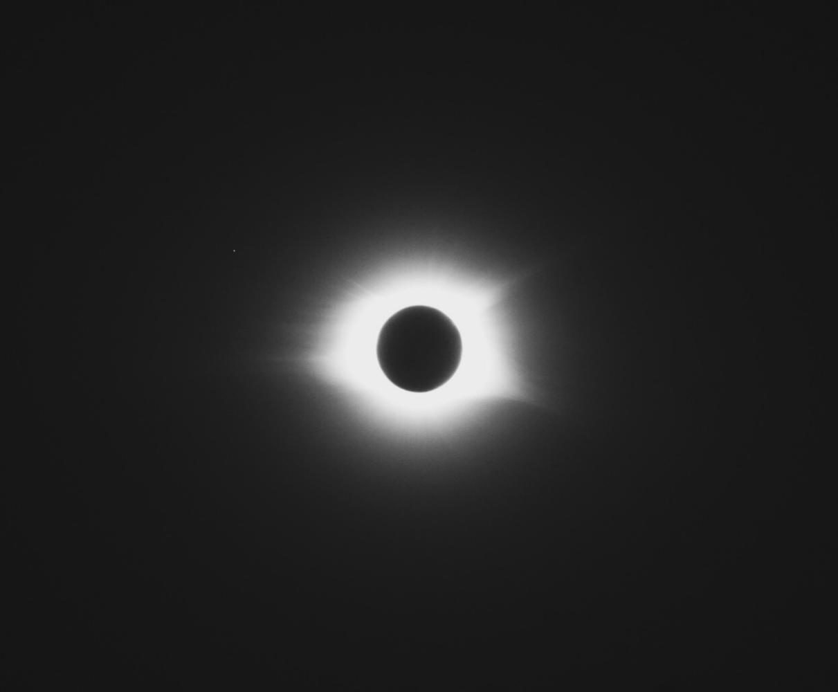 The sun blocks out the moon in totality