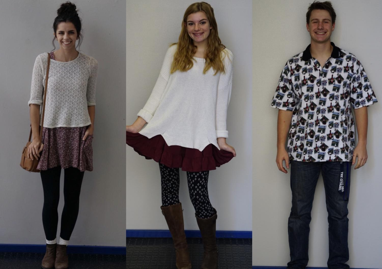 Students wearing their thrifty outfits, from left to right: Peyton Nease, Sophie Nauta, and Mac Reaney