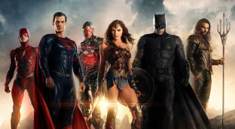 Henry Cavill as Superman, Ben Affleck as Batman, Gal Gadot as Wonder Woman, Ezra Miller as The Flash, Ray Fisher as Cyborg, and Jason Momoa as Aquaman