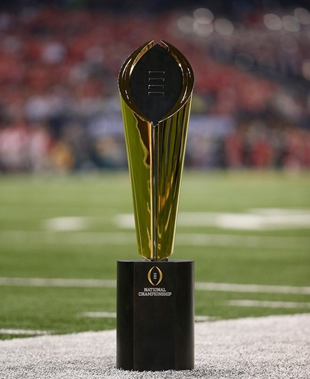 The Dr. Pepper College Football Championship trophy