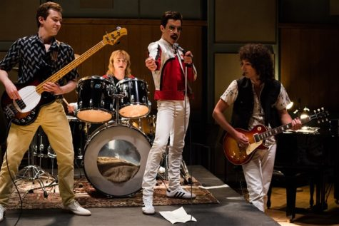 Actors (from left to right) Joseph Mazzello, Ben Hardy, Rami Malek, and Gwilym Lee in a scene in the movie.